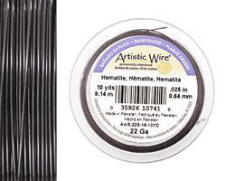 Artistic Wire Silver Plated Hematite 22 gauge, 10 yards