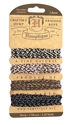 Earthy Braided Hemp Twine 2x6 ply, 6.17 ft x 4 colors