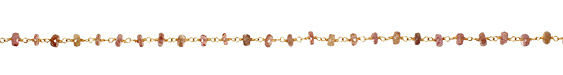Multi Garnet Faceted Rondelle Gold (plated) Bead Chain