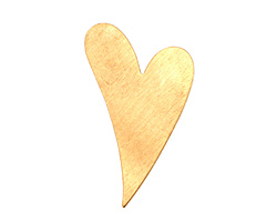 Brass Artisan Heart Blank 25x40mm