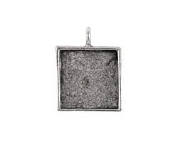 Nunn Design Antique Silver (plated) Large Square Bezel Pendant 26x34mm