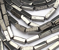 Golden Pyrite (silver tone) Rectangle 13x4mm