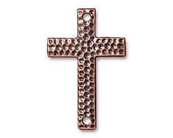 TierraCast Antique Copper (plated) Hammertone Cross Link 40x26mm