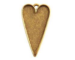 Nunn Design Antique Gold (plated) Grande Heart Bezel Pendant 54x29mm
