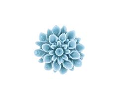 Opaque Turquoise Lucite Dahlia Flower Cabochon 16mm