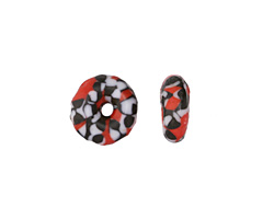 African Recycled Seed Bead Red, Black & White Donut 4-6x17-20mm