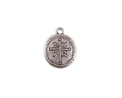 Zola Elements Antique Silver (plated) Small Radiant Cross Coin Charm 10x13mm