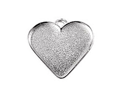 Nunn Design Sterling Silver (plated) Large Heart Bezel Pendant 33x30mm