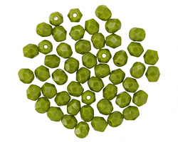 Czech Fire Polished Glass Opaque Olive Round 4mm