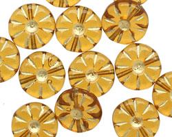 Czech Glass Amber Gilded Gold Daisy Coin 12mm