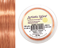 Artistic Wire Bare Copper 32 gauge, 100 yards