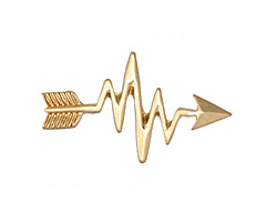 Zola Elements Matte Gold (plated) Heartbeat Arrow 3mm Flat Cord Slide 32x19mm