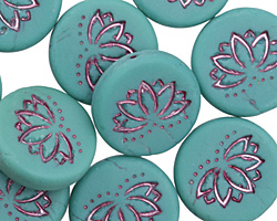Czech Glass Matte Teal Lotus Coin 18mm