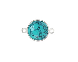 Turquoise (syn.) Faceted Coin Link in Sterling Silver 19-20x13mm