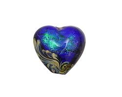 Grace Lampwork Sapphire Sea Shimmer Heart 18-20mm