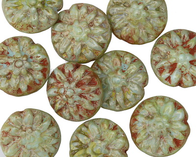 Czech Glass Turquoise Picasso Dahlia Flower Coin 14mm