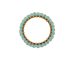 Aqua Miyuki Delicas Woven on Gold (plated) Stainless Steel Ring 19mm