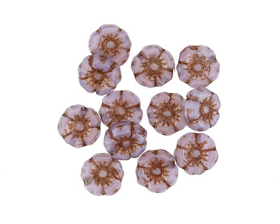 Czech Glass Bronzed Lilac Hibiscus Coin 7mm