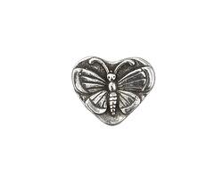 Green Girl Pewter Butterfly Heart Button 20x17mm