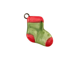 Jangles Ceramic Green Stocking Charm 15-18x17-22mm