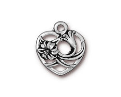 TierraCast Antique Silver (plated) Floral Heart Charm 18x20mm