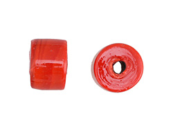 African Recycled Glass Red Barrel 12x14mm