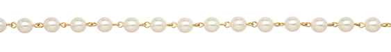 Czech Glass White Pearl on Gold (plated) Bead Chain