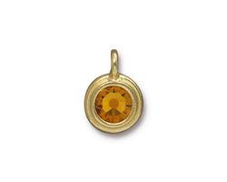 TierraCast Gold (plated) Stepped Bezel Charm w/ Topaz Crystal 12x17mm