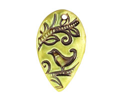 Earthenwood Studio Ceramic Acid Metal Swirly Bird Pendant 42x35mm