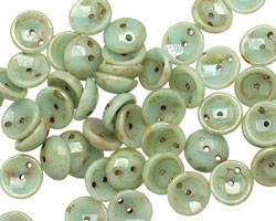 Czech Glass Mint Picasso 2-Hole Piggy Bead 8mm