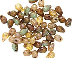 Czech Glass Pistachio Mix Teardrop 4x6mm