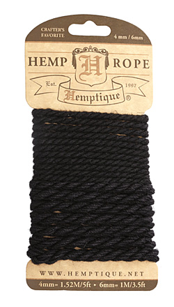 Black Hemp Rope 4mm & 6mm, 8.5 ft total