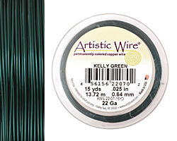 Artistic Wire Kelly Green 22 gauge, 15 yards
