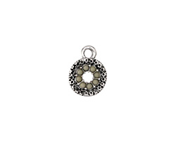 Zola Elements Antique Silver (plated) Beaded Concrete Textured Coin Charm 10x13mm