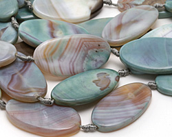 Blue Haze Agate Large Flat Oval 50x25mm