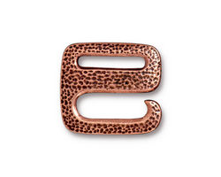 TierraCast Antique Copper (plated) Distressed E Hook Clasp 18x20mm