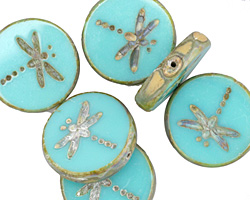 Czech Glass Turquoise Picasso Dragonfly Coin 17mm