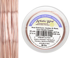 Artistic Wire Silver Plated Rose Gold 26 gauge, 30 yards