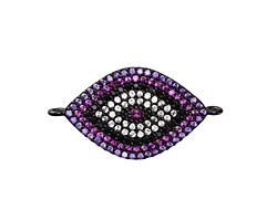 Wildberry Mix Pave CZ Gunmetal (plated) Eye Focal Link 28x16mm