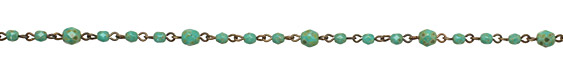 Czech Glass Totally Turquoise Brass (plated) Bead Chain