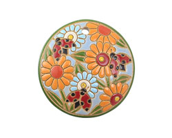 Golem Studio Ladybugs w/ Orange Carved Ceramic Circle Pendant 39mm