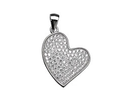 Sterling Silver & CZ Micro Pave Side Sweeping Heart Pendant 18x20mm