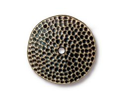 TierraCast Antique Brass (plated) Hammertone Disk 25mm