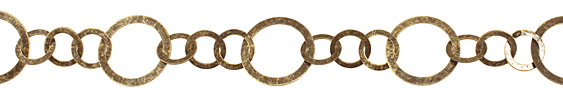 Antique Brass (plated) Flat Small & Large Ring Chain