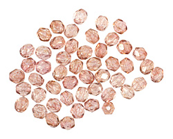 Czech Fire Polished Glass Luster Transparent Topaz/Pink Round 3mm