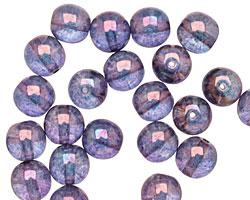 Czech Glass Luster Transparent Amethyst Round 8mm