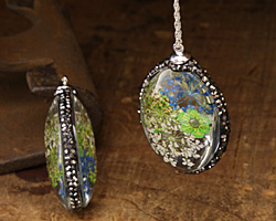 Glass Orb Oval w/ Vintage Mix & Green Flowers and Pave Crystals 25x50mm