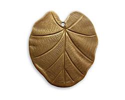 Vintaj Natural Brass Nouveau Leaf Pendant 28x31mm
