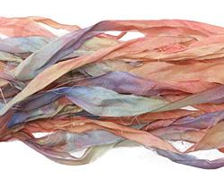 "Painted Desert Hand Dyed 100% Habotai Silk Ribbon 1/2""-1"""