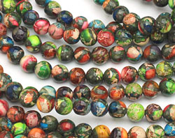 Mardi Gras (Mixed Impression) Jasper Round 6mm
